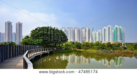 High rise apartments above Wetland Park in Hong Kong, China.