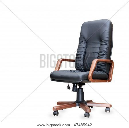 Black Leather Office Chair on white background