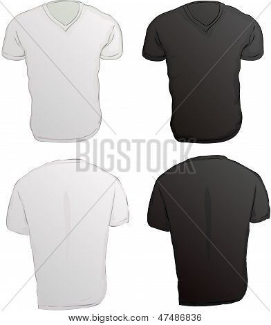 Vector Illustration Of Black And White V-neck Male Shirts Template