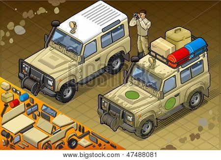 Isometric Safari Off Road Vehicle In Front View