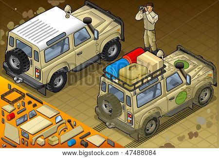Isometric Safari Off Road Vehicle In Rear View