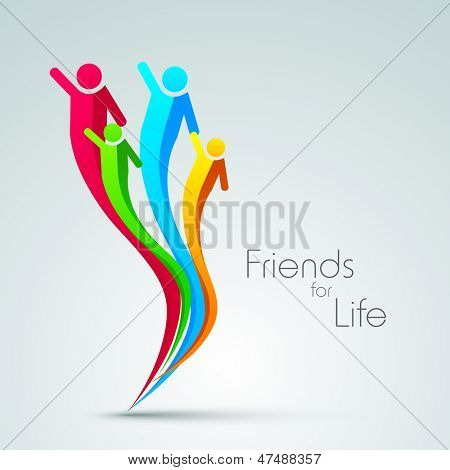 Creative concept for happy friendship day with colorful illustration of happy peoples.