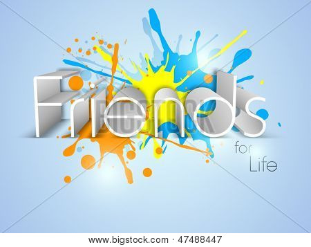 Text Friends on colorful grungy background for Happy Friendship Day.