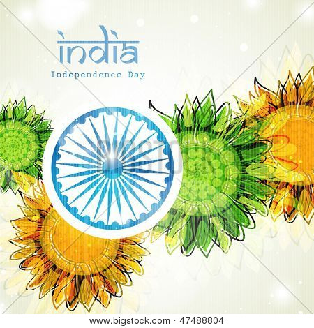 Creative Indian Independence Day concept with ashoka wheel and decorative floral pattern in national flag tricolors.