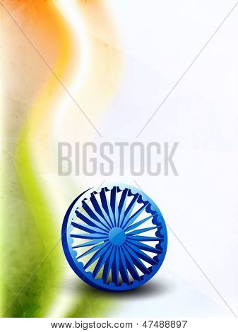 Indian Independence Day background with national flag tricolors wave and 3S ashoka wheel.