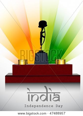 Indian Independence Day background with Amar Jawan Jyoti on national flag rays background.