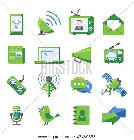 Retro style Electronics and media icons set Eco green series