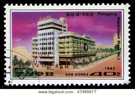 KOREA - CIRCA 1983: A stamp printed in Korea shows Department Store No.1 in Pyongyang, circa 1983