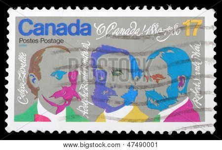 CANADA - CIRCA 1980: stamp printed by Canada, shows Composers Lavallee, Routhier, Weir, circa 1980