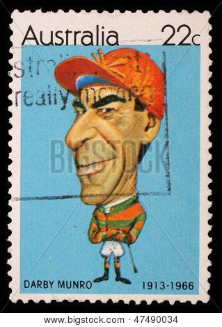 AUSTRALIA - CIRCA 1981: A stamp printed in Australia shows Australian sportsmen (Caricatures by Tony Rafty): Jockey Darby Munro (1913-1966), circa 1981
