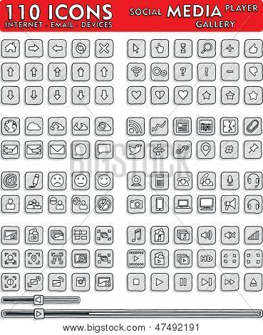 Social Media Hand-Drawn Icons - 110 Icons Set
