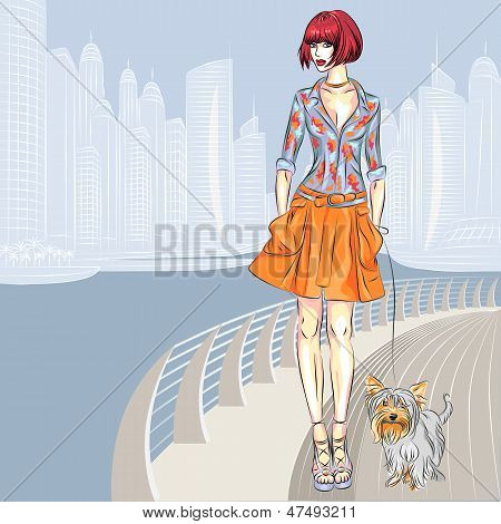 Vector Beautiful Girl With Dog Walks Along The Waterfront