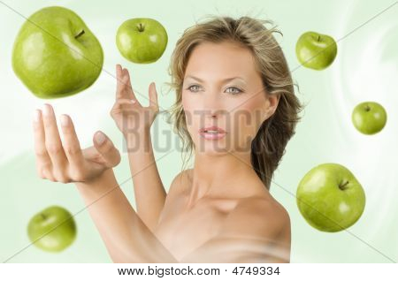 Girl With Flying Apple
