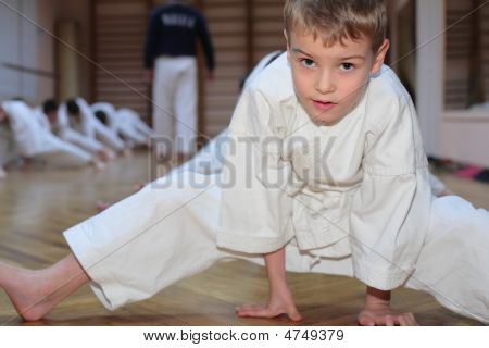 Karate Boy In Sport Hall