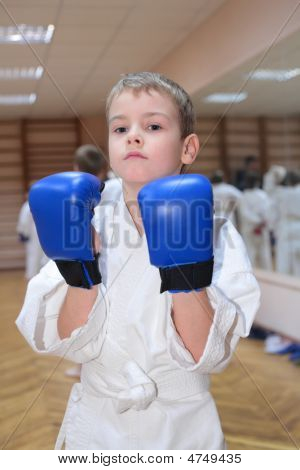 Boy In Sports Hall In Boxing Gloves