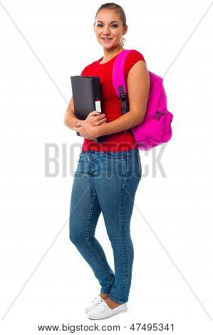 Pretty College Student Carrying Pink Backpack