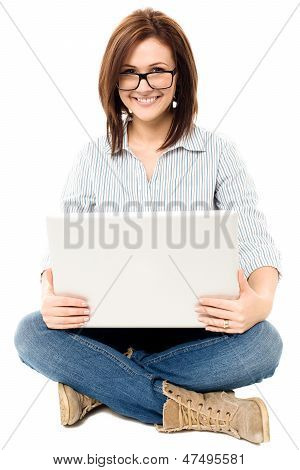 Casual Woman Working On A Laptop