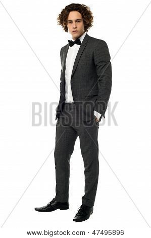 Handsome Young Groom, Full Length Portrait