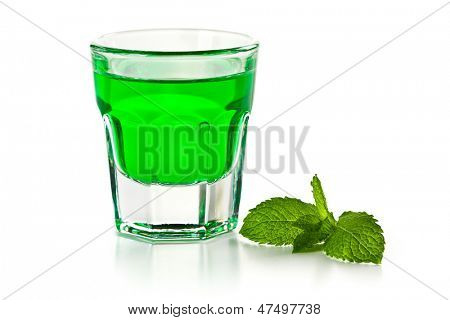green mint liquor on white background
