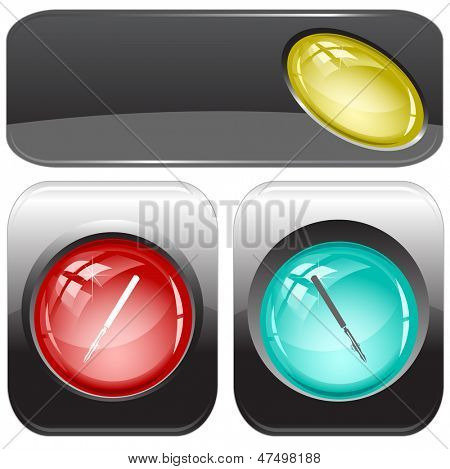 Ruling pen. Internet buttons. Raster illustration. Vector version is in my portfolio.