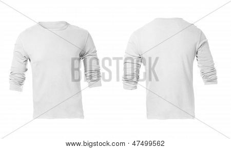 Men's White Long Sleeve T-shirt Template