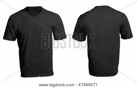 Black Male's V-neck Shirt Template