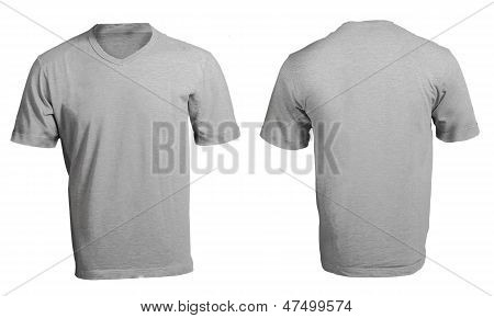 Grey Male's V-neck Shirt Template