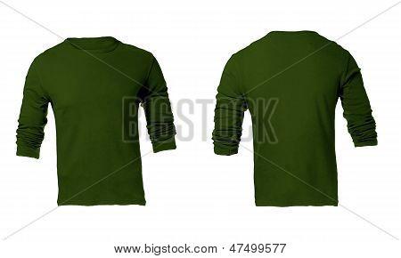 Men's Green Long Sleeve T-shirt Template