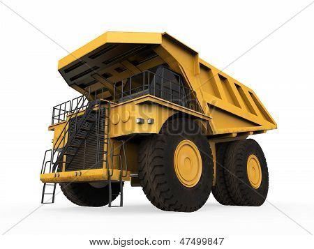 Caminhão de mineração amarelo isolado
