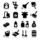 stock photo of dust-bin  - Cleaning Icons - JPG