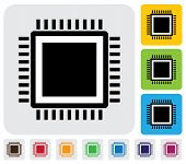 stock photo of cpu  - CPU or computer processor icon - JPG