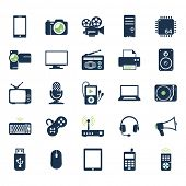 stock photo of microchips  - Electronics and gadgets icons set - JPG