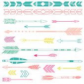 stock photo of bow arrow  - A set of cute hipster arrows - JPG