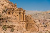stock photo of petra jordan  - The Monastery  Al Deir in nabatean petra jordan middle east - JPG