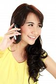 image of handphone  - happy teenager girl talking at the handphone - JPG