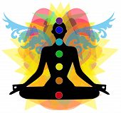 image of chakra  - Silhouette in yoga pose and chakra points - JPG