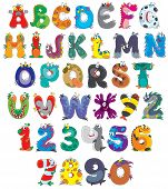 picture of halloween characters  - English alphabet and numbers with funny monsters - JPG