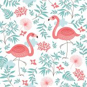 stock photo of flamingo  - seamless pattern with a pink flamingo - JPG