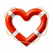 stock photo of friendship belt  - Life buoy in the shape of heart - JPG