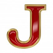 foto of letter j  - Ruby red with golden outline alphabet letter symbol  - JPG