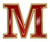 foto of letter m  - Ruby red with golden outline alphabet letter symbol  - JPG