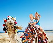 stock photo of hump  - Tourists children riding camel  on the beach of  Egypt - JPG