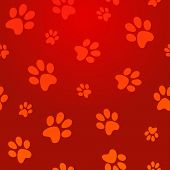 stock photo of animal footprint  - Pet paw abstract red seamless pattern background - JPG