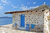 stock photo of chapels  - Agios Floros chapel at Tsougria island near Skiathos in Greece - JPG