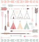 stock photo of tribal  - Teepee Tents and arrows collection  - JPG