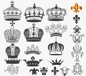 picture of queen crown  - Vector set of crowns for your heraldic design - JPG