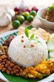 pic of ayam  - Nasi lemak traditional malaysian spicy rice dish - JPG