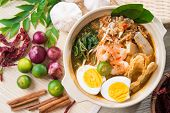 stock photo of rice noodles  - Singapore prawn noodles or prawn mee - JPG