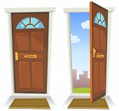 stock photo of heavens gate  - Illustration of a cartoon front red door opened on a spring urban backyard and closed symbolizing private and public frontier paradise or heaven - JPG