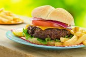 stock photo of fried onion  - A delicious grilled cheeseburger and fries in an outdoor picnic barbecue setting - JPG